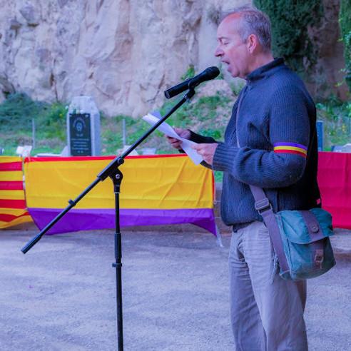 03 Raül Valls, presidente de la Amical en el homenaje anual en el Fossar de la Pedrera (2020)